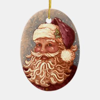 Ornement Ovale En Céramique Noël des 4884 père noël
