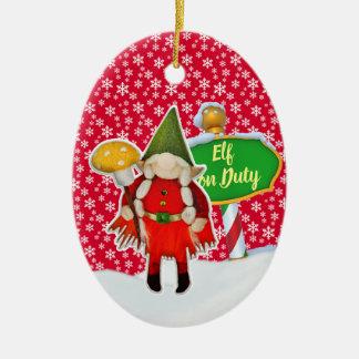 Ornement Ovale En Céramique Noël en service des elfes de FD ornemente 53086A10