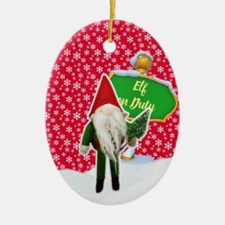 Ornement Ovale En Céramique Noël en service des elfes de FD ornemente 53086A11