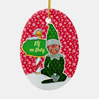 Ornement Ovale En Céramique Noël en service des elfes de FD ornemente 53086A6