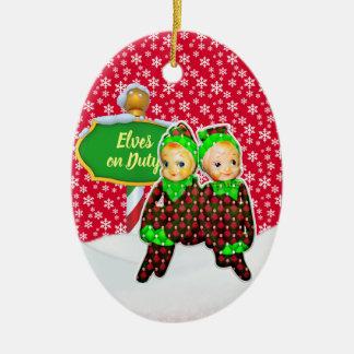 Ornement Ovale En Céramique Noël en service des elfes de FD ornemente 53086A8