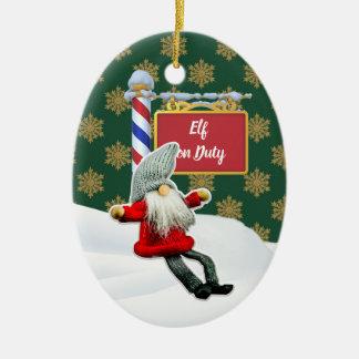 Ornement Ovale En Céramique Noël en service des elfes de FD ornemente 53086B11