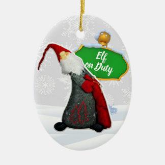 Ornement Ovale En Céramique Noël en service des elfes de FD ornemente 53086C11
