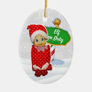 Ornement Ovale En Céramique Noël en service des elfes de FD ornemente 53086C7