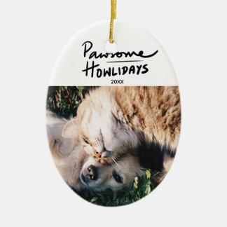 Ornement Ovale En Céramique Noël fait sur commande de photo de chien