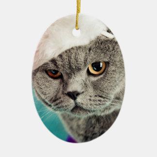 Ornement Ovale En Céramique Noël gris de chat - chat de Noël - chat de chaton