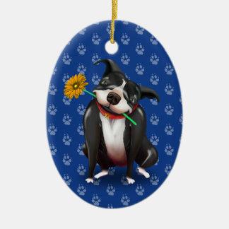 Ornement Ovale En Céramique Noël mignon d'amoureux des chiens ornemente |