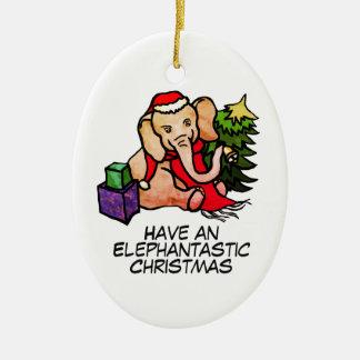 Ornement Ovale En Céramique Noël mignon d'éléphants d'Elephantastic Père Noël