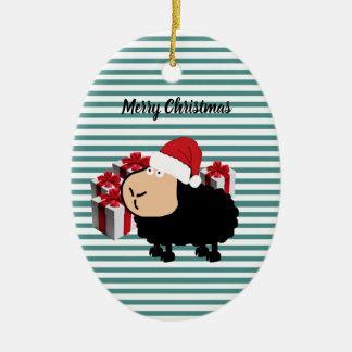 Ornement Ovale En Céramique Noël mignon drôle de moutons de bande dessinée de