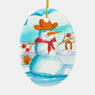 Ornement Ovale En Céramique Noël nommé fait sur commande de bonhomme de neige