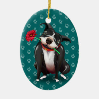 Ornement Ovale En Céramique Noël personnalisé de Pitbull ornemente le bleu de