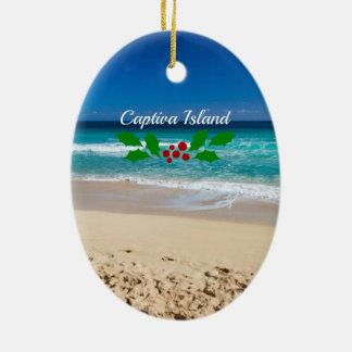 Ornement Ovale En Céramique Noël sur l'île de Captiva, la Floride