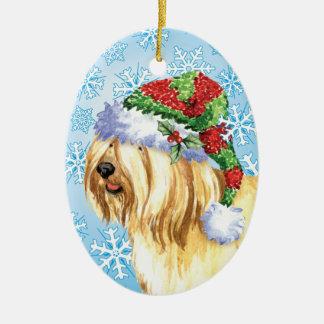 Ornement Ovale En Céramique Noël Terrier tibétain