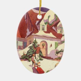 Ornement Ovale En Céramique Noël vintage, Chambre de famille dans la neige