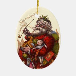 Ornement Ovale En Céramique Noël vintage, jouets victoriens de tuyau du père