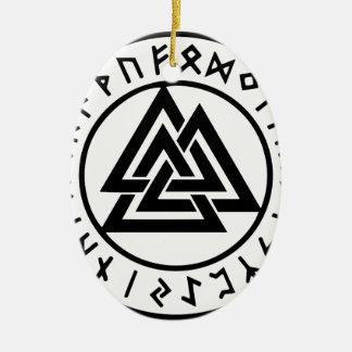 Ornement Ovale En Céramique Noeud païen Valknut d'Odins de symboles
