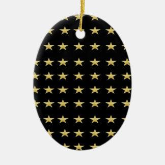 Ornement Ovale En Céramique Noir d'étoiles chanceuses avec la conception