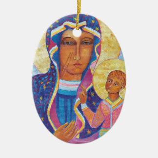 Ornement Ovale En Céramique Notre Madame de Czestochowa Madonna noir Pologne