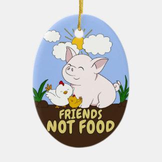 Ornement Ovale En Céramique Nourriture d'amis pas - porc et poulet mignons