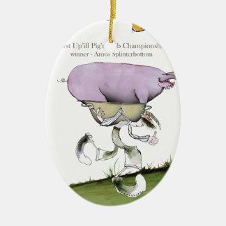 Ornement Ovale En Céramique nous aimons la course de porc d'up'ill de