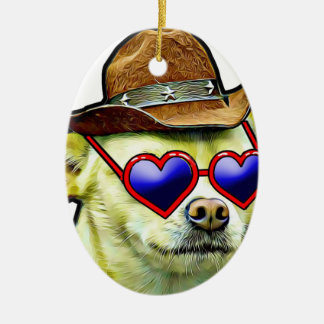 Ornement Ovale En Céramique Nouveau chien mode