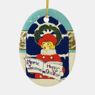 Ornement Ovale En Céramique Nouvelle année de Noël victorien vintage de Merrie