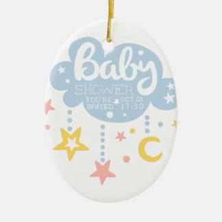 Ornement Ovale En Céramique Nuage et Temp de conception d'invitation de baby