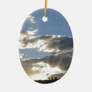 Ornement Ovale En Céramique Nuages et Sun