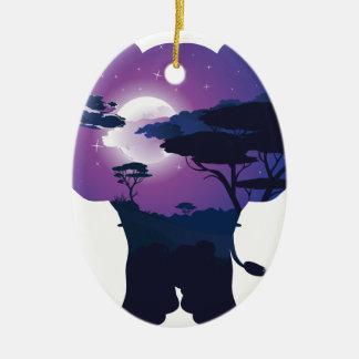 Ornement Ovale En Céramique Nuit africaine avec l'éléphant 3