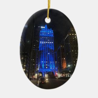 Ornement Ovale En Céramique Nuit de construction centrale de New York NYC Park