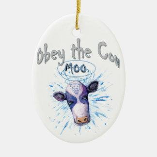 Ornement Ovale En Céramique Obéissez la vache télépathique