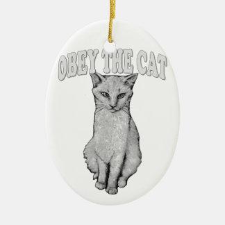 Ornement Ovale En Céramique Obéissez le chat