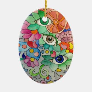 Ornement Ovale En Céramique Oeils en couleur