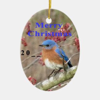 Ornement Ovale En Céramique Oiseau bleu