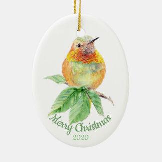 Ornement Ovale En Céramique Oiseau daté de colibri d'aquarelle de Noël de