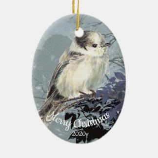 Ornement Ovale En Céramique Oiseau daté de geai gris d'aquarelle de Noël de