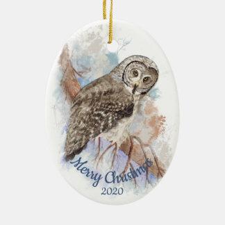 Ornement Ovale En Céramique Oiseau daté de hibou de grand gris de Noël de