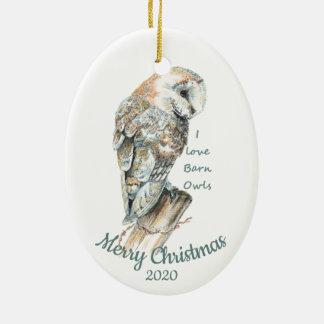 Ornement Ovale En Céramique Oiseau daté de hibou de grange d'aquarelle de Noël