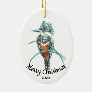 Ornement Ovale En Céramique Oiseau daté de martin-pêcheur d'aquarelle de Noël