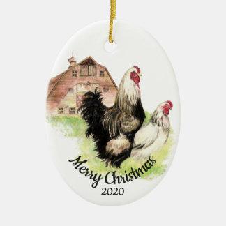 Ornement Ovale En Céramique Oiseau daté de poulet d'aquarelle de Noël de