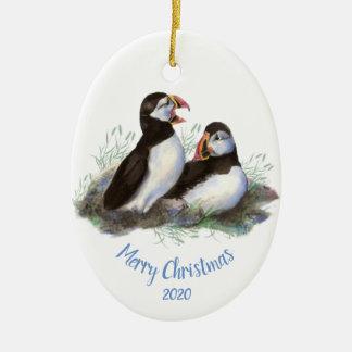 Ornement Ovale En Céramique Oiseau daté d'océan de macareux de Noël de coutume
