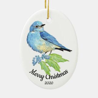 Ornement Ovale En Céramique Oiseau daté d'oiseau bleu d'aquarelle de Noël de