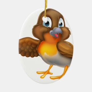 Ornement Ovale En Céramique Oiseau de Robin de bande dessinée dirigeant l'aile