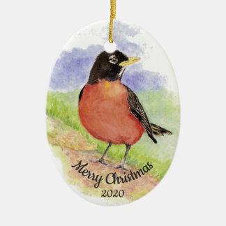 Ornement Ovale En Céramique Oiseau fait sur commande de Robin d'aquarelle de