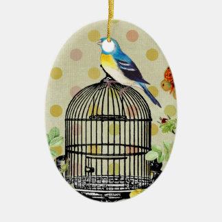 Ornement Ovale En Céramique oiseau floral, art, conception, beau, nouvelle,