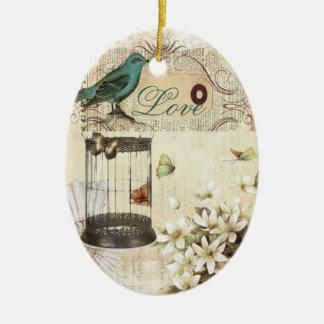 Ornement Ovale En Céramique oiseau français vintage moderne de cage à oiseaux
