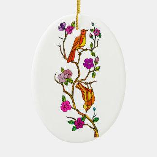 Ornement Ovale En Céramique Oiseau sur le bas polygone de fleurs de cerisier