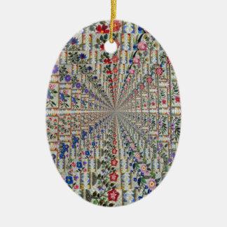 Ornement Ovale En Céramique Oiseaux et fleurs de motif de broderie