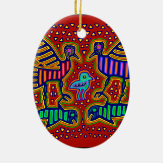 Ornement Ovale En Céramique Oiseaux indiens de Kuna avec des poissons