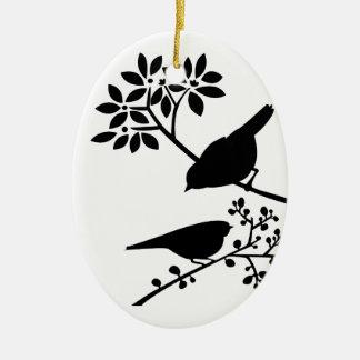 Ornement Ovale En Céramique Oiseaux noirs et blancs